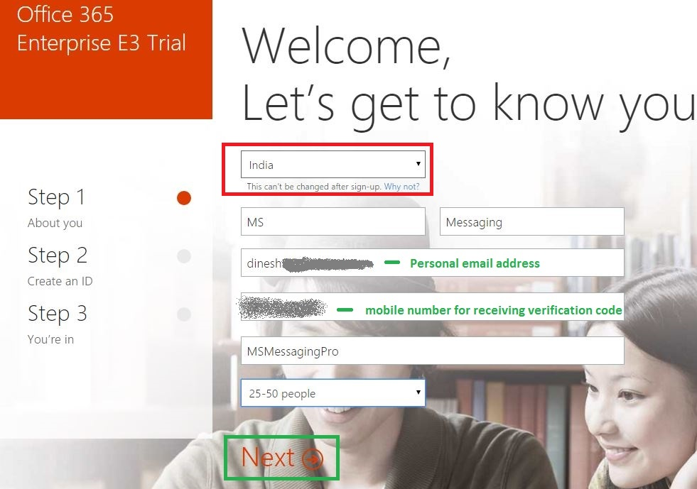 Office 365 creating trial tenant account ms cloud pro - Create account in office 365 ...